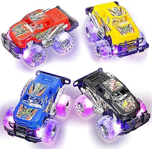 Light Up Monster Truck Set for Boys and Girls by ArtCreativity – Set Includes 2, 6 Inch Monster Trucks with Beautiful Flashing LED Tires – Push n Go Toy Cars Fun Gift for Kids – for Ages 3+