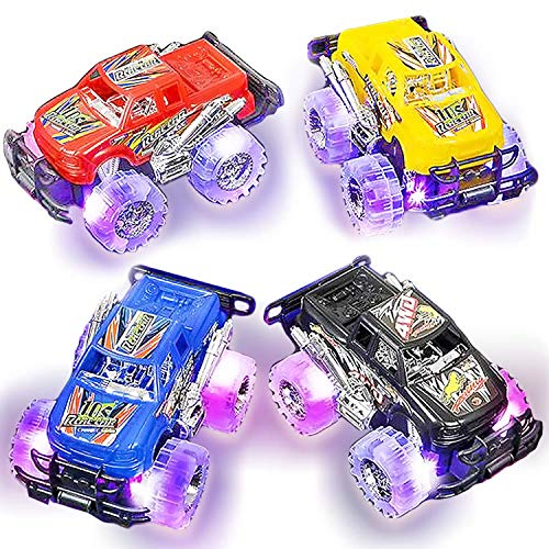 Light Up Monster Truck Set for Boys and Girls by ArtCreativity - Set Includes 2, 6 Inch Monster Trucks with Beautiful Flashing LED Tires - Push n Go Toy Cars Best Gift for Kids - for Ages 3+