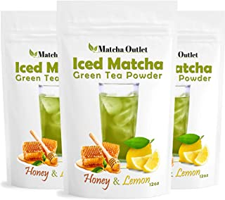Iced Matcha Honey-Lemon Green Tea Powder (3x 12oz) - Super-Refreshing and Great for Summer - Packed with Antioxidants, All-Natural Energy Boost - Made with Ceremonial Japanese Matcha