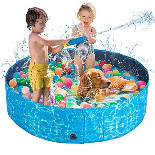 Piscina per Cani,120cm PVC Piscina Pieghevole per Cani Grandi e Piccoli, Piscina Rigida per Bambini, Piscina con Palline per Bambini, 100% Sicuro & Non Tossico, Oceano