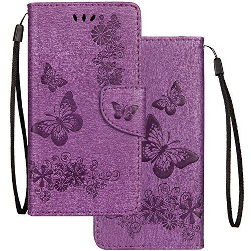 LEMORRY Hülle für Samsung Galaxy S10 Lite / A91 Hülle Tasche Ledertasche Flip Beutel Schließung Stehening SchutzHülle Weich Silikon Cover Schale für Galaxy S10 Lite / A91, Schmetterling Lila