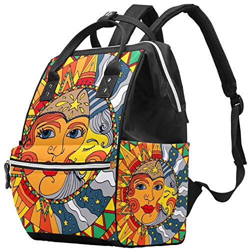 Magic Sun Moon Nappy Changing Bag Diaper Sac à dos avec poches isolées, sangles de poussette, grande capacité multifonctionnel élégant sac à couches pour maman papa en plein air