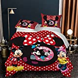 3Pcs Kids Mickey Minnie Mouse Comforter Set Queen Size - 3D Cartoon Mickey Minnie Bedding Set for Girls Boys Toddler Soft Microfiber Comforter Quilt Bed Set with 2 Pillowcase (05,Queen(90'x90'))