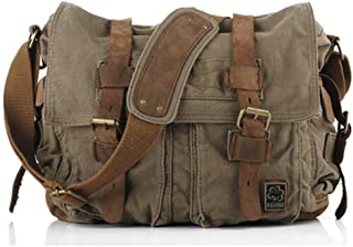 Sechunk Vintage Military Leather Canvas Laptop Bag Messenger Bags Medium