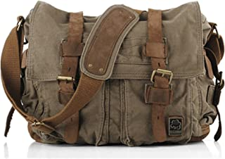 Vintage Military Leather Canvas Laptop Bag Messenger Bags Medium