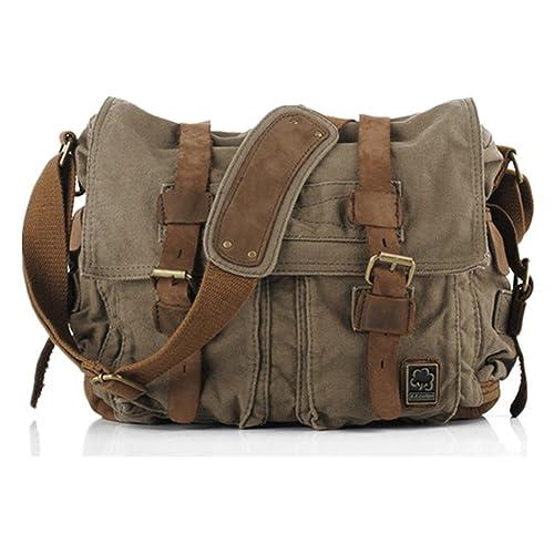 Sechunk Vintage Military Leather Canvas Laptop Bag Messenger Bags Medium c9f105df845