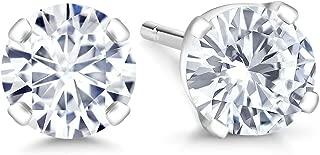 Gem Stone King IGI Certified 14K White Gold Lab-Grown Created Diamond Stud Earrings (G-H Color, VS1-VS2 Clarity)