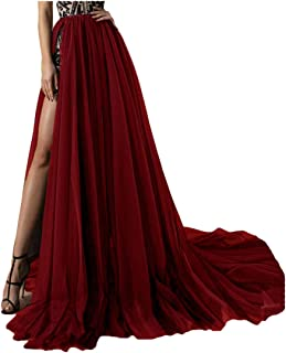 4 Layer Tulle Detachable Skirts High Split Side Overskirts for Prom Party Dress Sweep Train