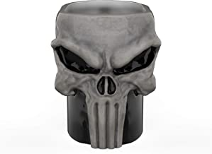 Zak Designs DDTA-1593-C Unique 3D Character Sculpted Coffee Mug with Ceramic Spoon, Marvel Punisher