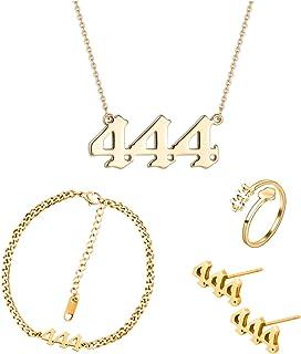 Angel Number Necklace Bracelet Women 2-Piece Set Gold Plated