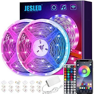 【Tiras de Luces LED Inteligentes】 - Las Tiras de Luces LED JESLED son compatibles con Google Home y Alexa, por lo que puede usarla incluso sin usar sus manos ya que las puedes controlar por voz. Encienda o apague las luces, configure el color, ajuste...