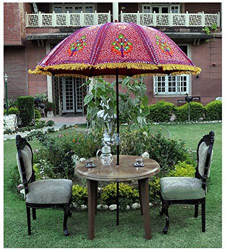 Marusthali Indischer Sonnenschirm Sonnenschirm Patio Regenschirm Baumwollstoff Dekorativer Sonnenschirm im Freien