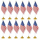 Juvale 12-Piece US Flags - American Flags Stand, USA Flags Desk, Table Decorations, 8 x 5.5 inches