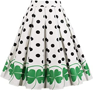 FTVOGUE Women's Vintage A-Line Rockabilly Floral Pleated Retro Midi Skirts