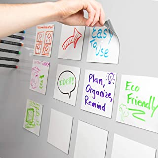 mcSquares Stickies Dry-Erase Sticky Notes. Reusable Whiteboard Stickers 5in x 5in 6 Pack. Never Buy Paper Post Notes Again, Its Eco-Friendly!