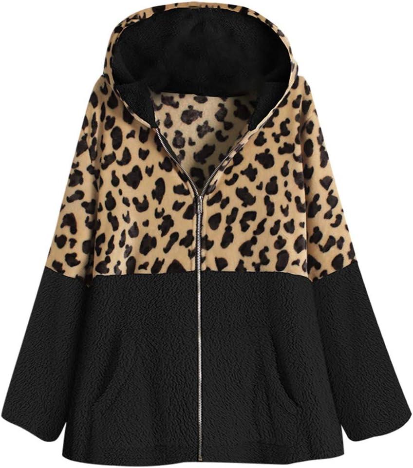 4 years warranty Women's Outerwear Hooded Leopard Vintage ! Super beauty product restock quality top! Coat Elegant Plus Size