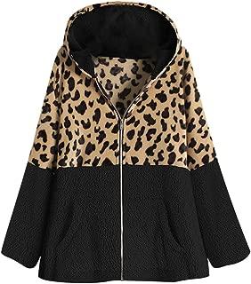 NANTE Top Loose Women's Coat Leopard Patchwork Hooded Coats Pocket Fleece Pullover Sweater Outwear Jacket Outerwear Overcoat