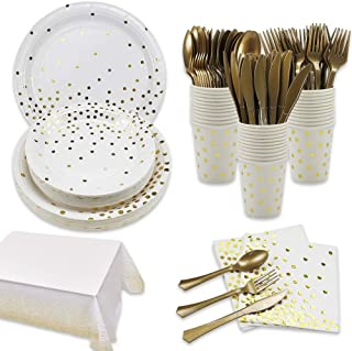 169Pcs White and Gold Party Supplies Disposable Dinnerware Set Serves 24-Gold Paper Plates Napkins Cups Tablecloth with Go...