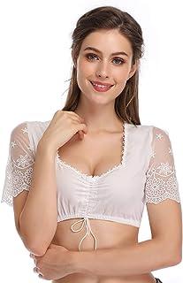 KOJOOIN Trachten Damen Dirndlbluse - Kurzarm/Halbarm Bluse für Oktoberfest 100% BaumwolleVerpackung MEHRWEG
