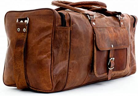 Vintage Leather Travel Bag Duffel Weekend Gym Duffle Overnight Carry On Luggage