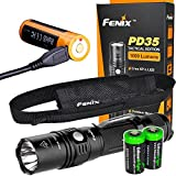 EdisonBright Fenix PD35 TAC 1000 Lumen 2018 CREE LED Tactical Flashlight, Fenix ARB-L18-2600U Li-ion USB Rechargeable Battery and Holster with Two CR123A Lithium Batteries