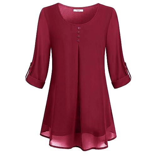 e882e8e9890d Cestyle Women's Roll-up Long Sleeve Round Neck Layered Chiffon Flowy Blouse  Top