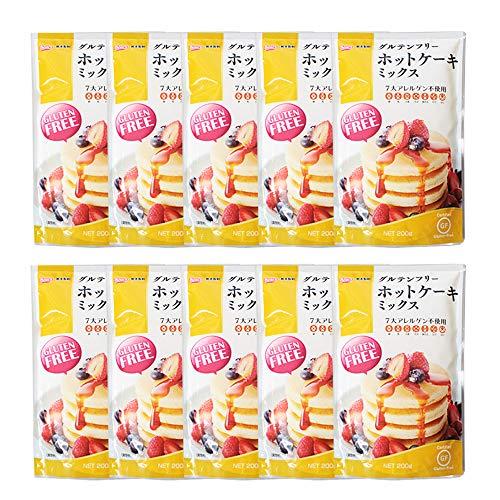 【まとめ買い】ミックス粉 グルテンフリー ホットケーキミックス 熊本製粉 200gx10セット