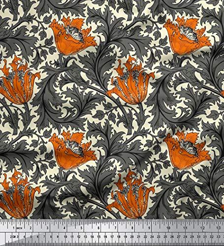 Soimoi Blumendruck Dekorative 58 Zoll breit Viscose Rayon Fabric 115 GSM Craft NäHen durch Das Messgerät - Rust orange