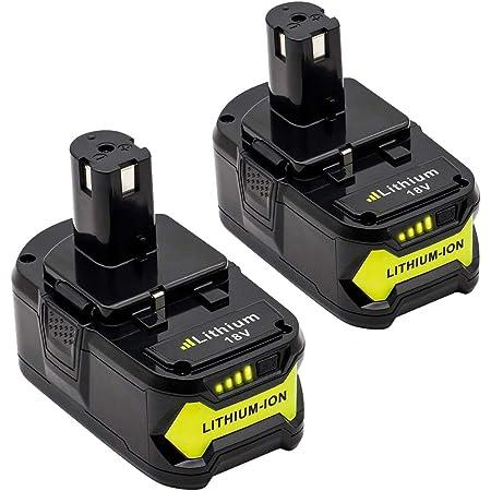 Unisun Lot de 2 batteries Li-ion de rechange pour Ryobi One Plus P102 P103 P104 P105 P107 P108 P122 RB18L13 RB18L15 RB18L25 RB18L40 18 V 5 Taille-haie Visseuse sans fil.