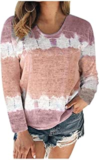 Reliable Women Color Block Tie-Dye Patchwork Crew-Neck Tee Tops Blouses, Fashion Ladies Long Sleeves Sweaters (Color : Hot...