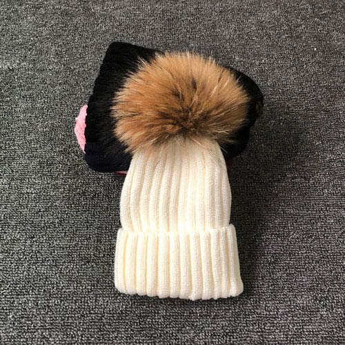 Invierno MujerSombrero de Pom Poms del Sombrero del Invierno de Las Mujeres Muchacha para 's Sombrero del Casquillo del Sombrero de Punto Grueso Gorros MujeresGorros-White with Fur-Adult Size