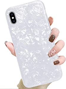 J.west iPhone Xs Case, iPhone X Case, Cute Phone Case Girls Women Glitter Pretty Design Sparkle Translucent Clear Bumper Shockproof TPU Shell Soft Silicone Back Cover Case for iPhone Xs/X 5.8