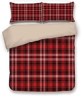 Conjunto de funda nórdica, parte posterior de color caqui, cuadros rojos, cuadrados de colchas, patrones de franela geométricos con inspiración abstracta, blanco negro rojo, juego de cama decorativo d