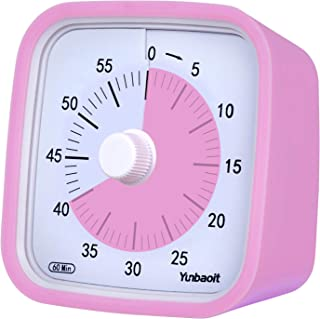 Yunbaoit Pro Version 60-Minute Visual Countdown Timer, Time Management Tool for Kitchen, Office, School, Home, No Loud Ticking, Optional Alarm (Pink)