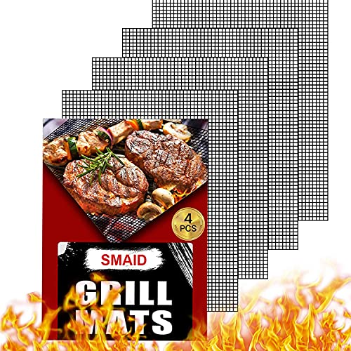 Smaid Grill mesh mat - Non Stick BBQ Grill mats for Outdoor Grill, Reusable BBQ Sheets for Gas Grill,Easy to Clean - Works on Gas, Charcoal, Electric Grill and More, 15.75 x 13 inch, Black