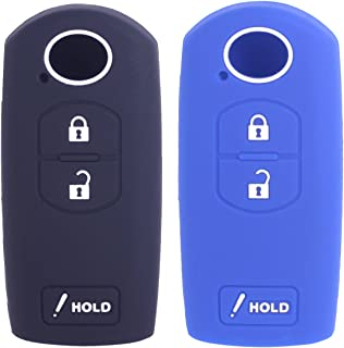 2Pcs WERFDSR Sillicone key fob Skin key Cover Keyless Entry Remote Case Protector Shell for for MAZDA 3 CX-3 CX-5 CX-7 CX-9 3 Buttons black blue