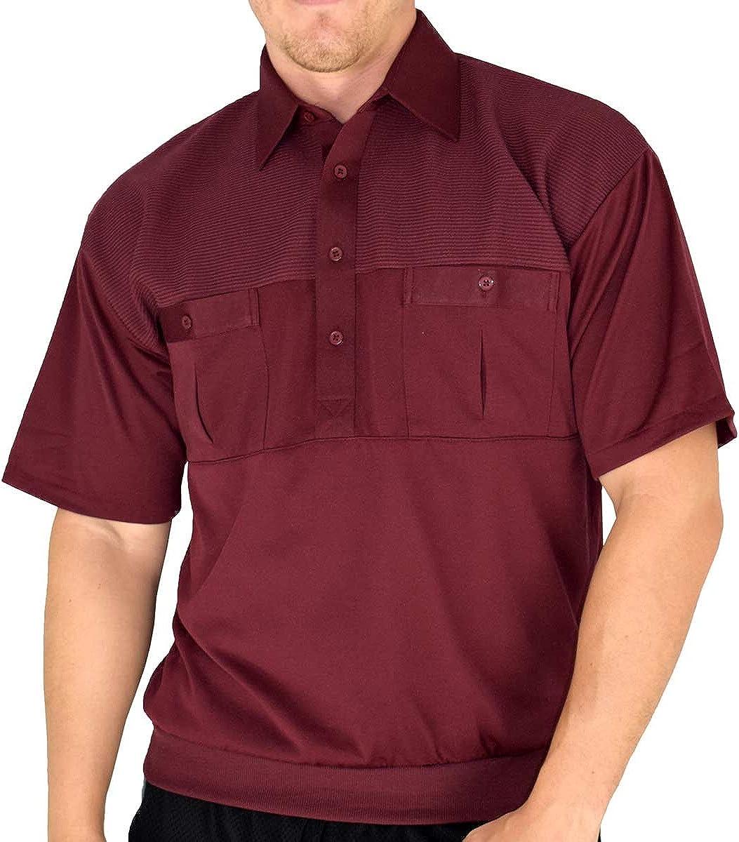 Palmland Classic 2 Pocket Solid Banded Bottom Polo Shirt Big and Tall (4XLT, Burgundy)