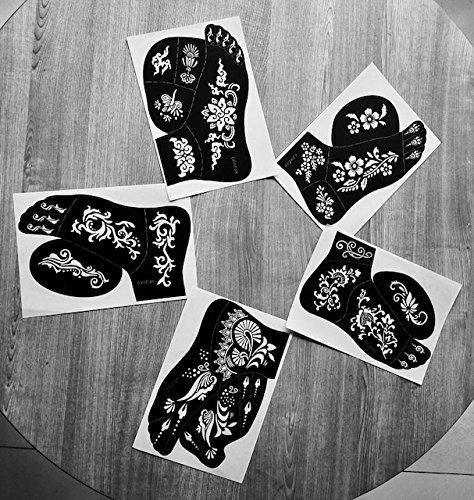 5pc Jennah pie izquierdo India árabe adhesivo reutilizable pegatinas de plantillas para dibujar alrededor por laminau