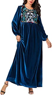 zhbotaolang Women Muslim Plus Size Swing Dress - Ladies Floral Embroidery Islamic Clothing Elegant Velvet Gown