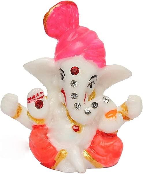 Satre 在线和营销 2 6 Pagdi Stone Mini Lord Ganesh Ganpati Polyresin 偶像 Ganjapti 雕像展示礼品汽车装饰办公桌家居装饰