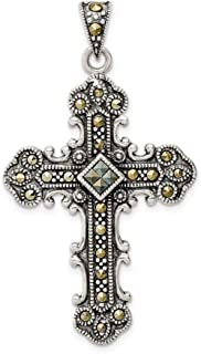 925 Sterling Silver Marcasite Cross Religious Pendant Charm Necklace Fine Jewelry Gifts For Women For Her