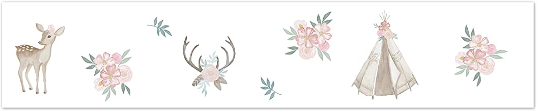 Sweet Jojo Designs Blush Pink, Mint Green and White Boho Wallpaper Wall Border for Woodland Deer Floral Collection