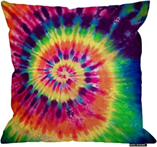 HGOD DESIGNS Art Home Decorative Pillowcase Abstract Swirl Colorful Tie Dye Pattern Cushion Cover 18 X 18 Inches for Sofa/Bed/Car