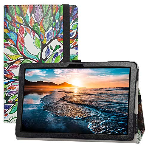 LIFANG Huawei MatePad T10s Funda,Soporte Cuero con Slim PU Funda Caso Case para 10.1' Huawei MatePad T10s (AGS3-L09/AGS3-W09) Tablet(Not Fit Other Models),Love Tree