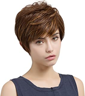 HAIRCUBE Short Wigs for Women Heat-Resistant Synthetic Wigs Color Brown Mixed Golden