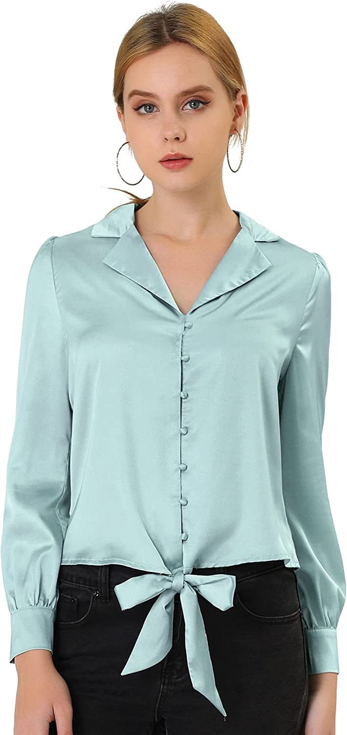Allegra K Women's Casual Button Down Camp Collar Long Sleeve Tie Front Satin Blouse