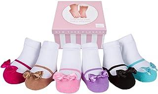 6 pares de calcetines para bebé niña - Suelas antideslizantes - Algodón suave - Cajita regalo - Efecto zapatos