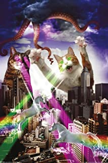 Pyramid America Apocalypse Meow Laser Cats Funny Cool Wall Decor Art Print Poster 24x36