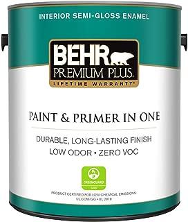 BEHR Premium Plus 1 gal. Ultra Pure White Semi-Gloss Enamel Zero VOC Interior Paint and Primer in One
