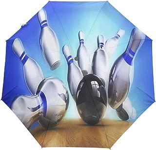 Bowling Best Compact Travel Umbrella,Windproof, Reinforced Canopy,3 Folds Auto Open/Close Anti-UV Umbrella